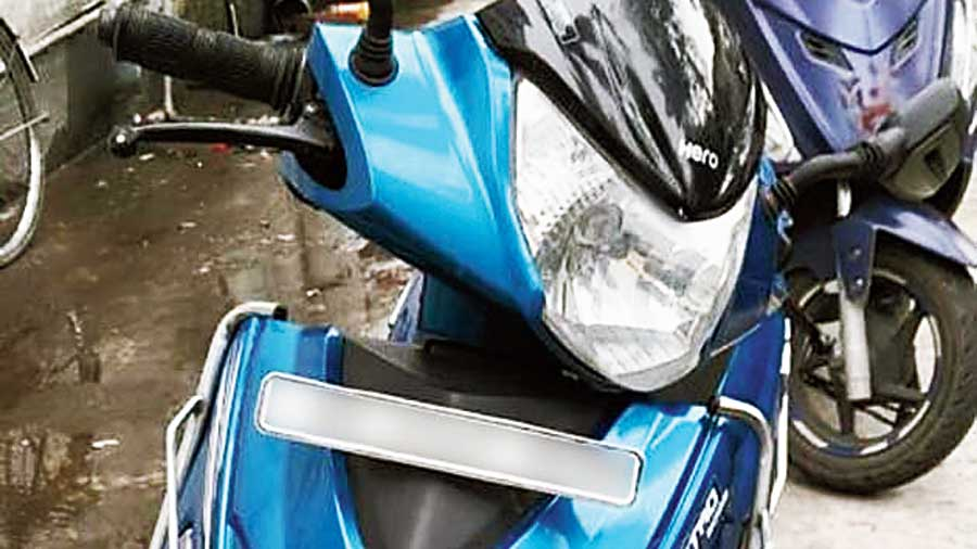 The two-wheeler that was stolen. The licence plate has been blurred by this newspaper