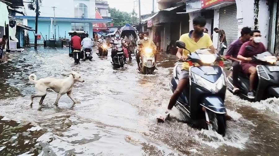 A waterlogged street in Jalpaiguri on Wednesday.