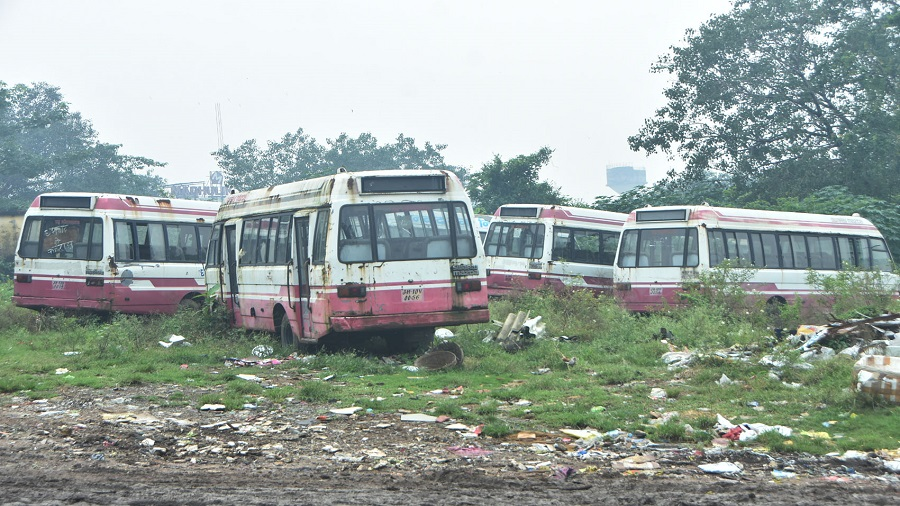 City buses parked at Bartand in Dhanbad on Wednesday