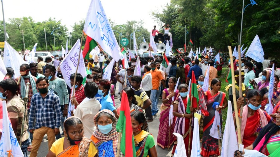 The protesters march in Bokaro on Thursday.