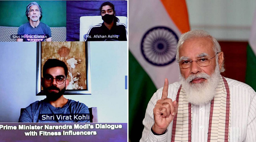 Prime Minister Narendra Modi virtually interacts with various fitness enthusiasts during Fit India Dialogue on the first anniversary of Fit India Movement, in New Delhi, Thursday, September 24, 2020