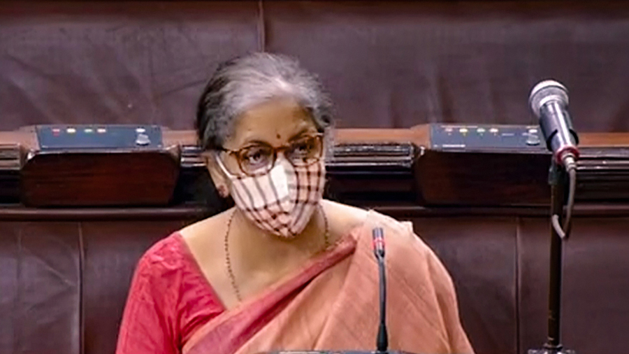 Union Minister Nirmala Sitharaman in the Rajya Sabha during the of the Parliament Monsoon Session, New Delhi, Tuesday, Sept. 22, 2020.