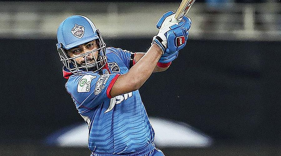 Delhi Capitals' Prithvi Shaw during his 43-ball 64 against Chennai Super Kings in Dubai on Friday.