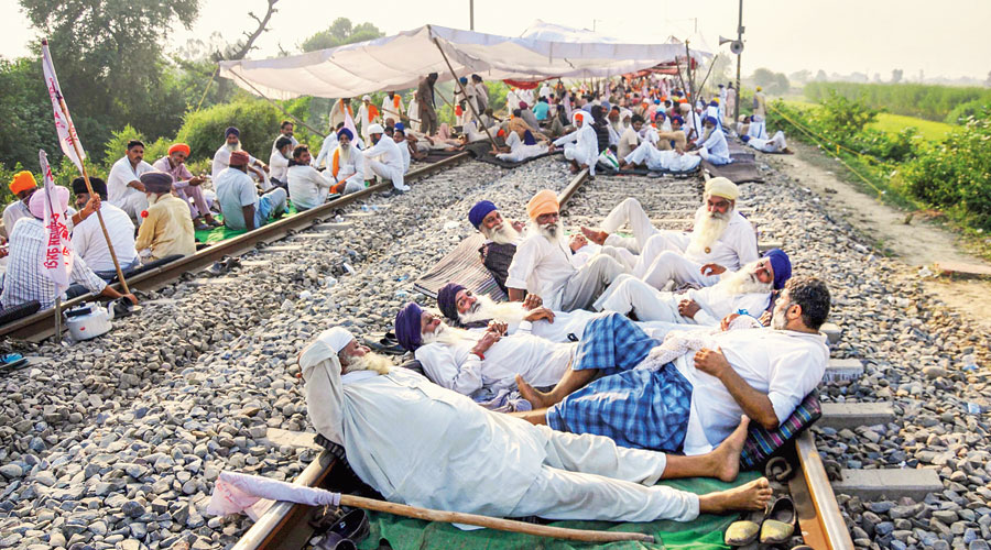 Farmers protesting against new farm laws in Punjab.