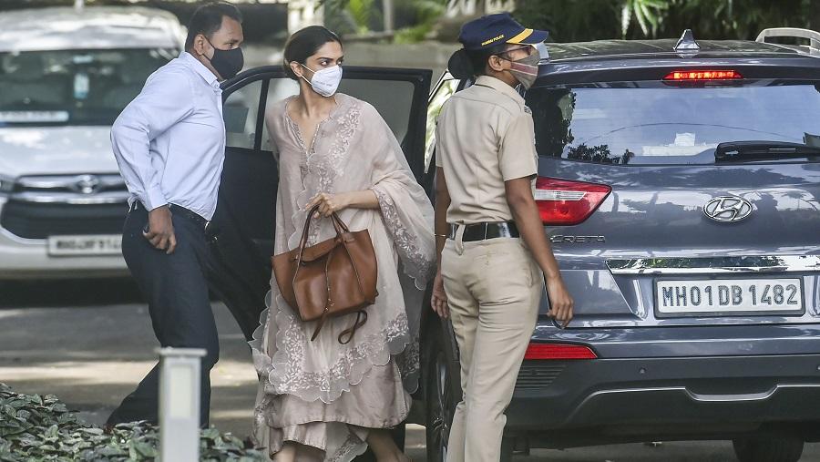 Deepika Padukone arrives at the NCB office, in Mumbai on Saturday.