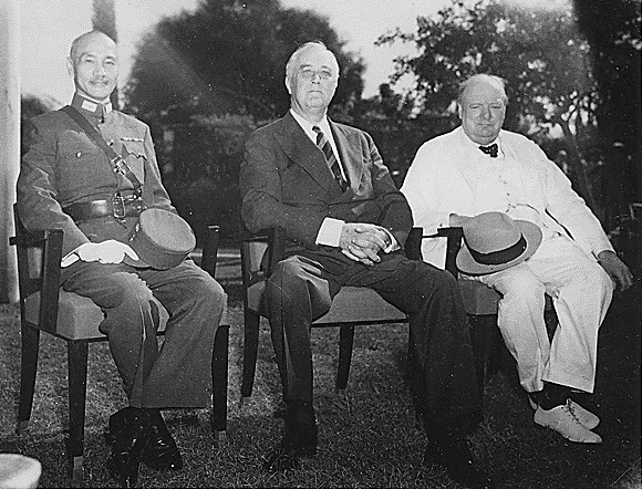 Generalissimo Chiang Kai-shek, Franklin D. Roosevelt, and Winston Churchill at the Cairo Conference, 25 November 1943