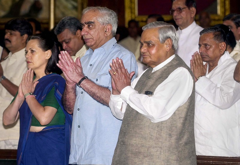 File photo, dated July 22, 2002, of former Union Minister Jaswant Singh with Congress President Sonia Gandhi and late former PM Atal Bihari Vajpayee, at Parliament House in New Delhi.