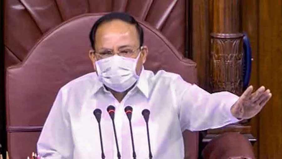 Rajya Sabha Chairman Venkaiah Naidu conducts proceedings in the Upper House on September 22.