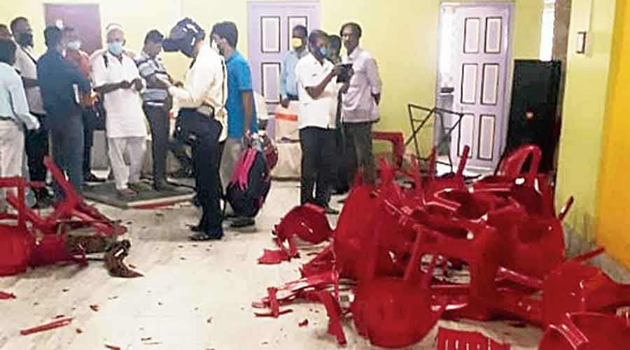 Chairs broken in the clash at Basirhat