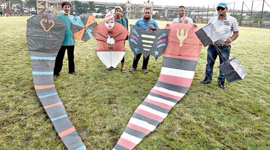 Kite festival participants  in New Town on Sunday
