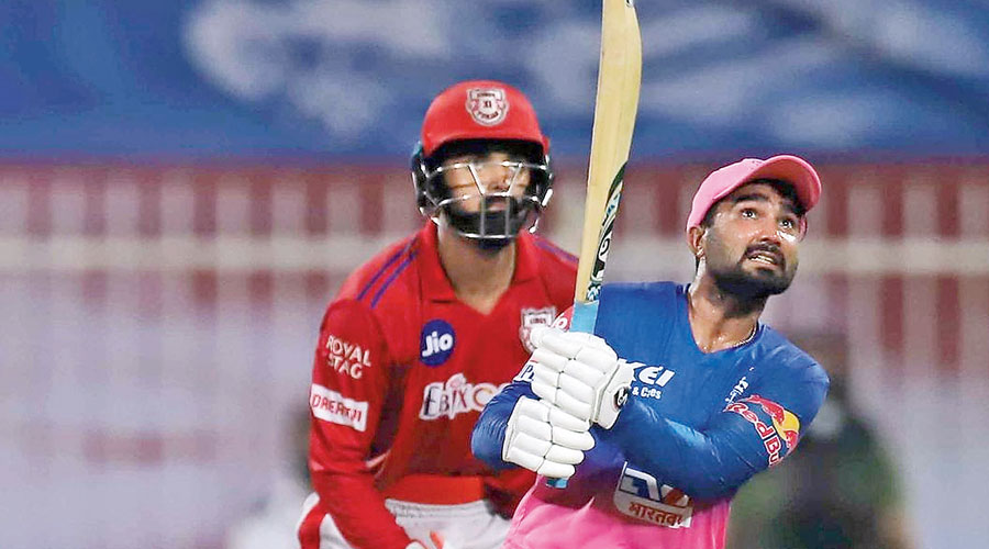Rahul Tewatia during his 31-ball 53 for the Rajasthan Royals against Kings XI Punjab on Sunday.