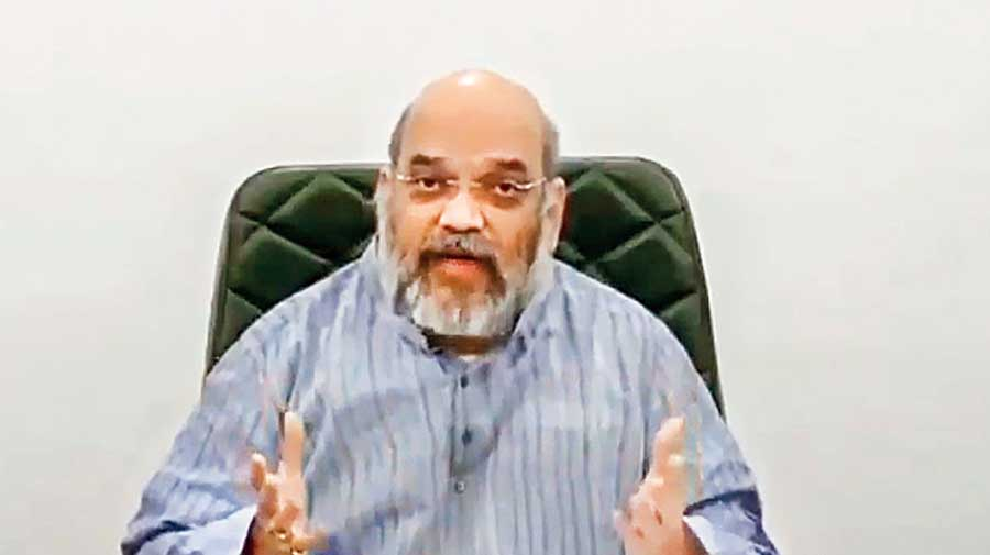 Amit Shah inaugurates 'Destination North East 2020' fest via video conferencing, in New Delhi on Sunday.