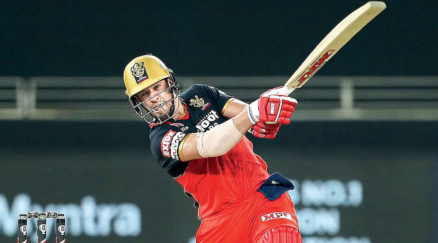 Man of the Match AB de Villiers in action against Mumbai Indians in Dubai on Monday.