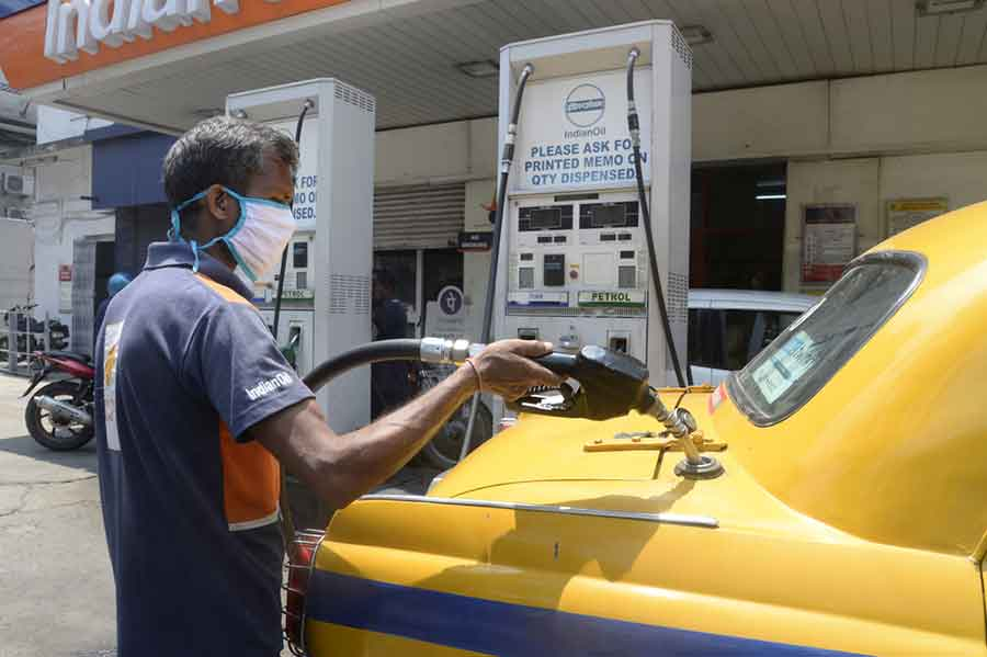 In Calcutta, the price of petrol rose to Rs 82.79 a litre from Rs 82.59 per litre, while diesel rates stood at Rs 74.24 per litre against Rs 73.99 earlier.