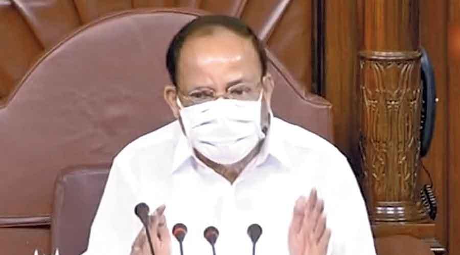 M Venkaiah Naidu conducts proceedings in the Rajya Sabha.