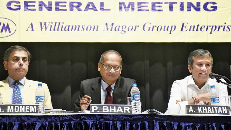 Aditya Khaitan (right) with other board members at the company's AGM in Calcutta on Monday