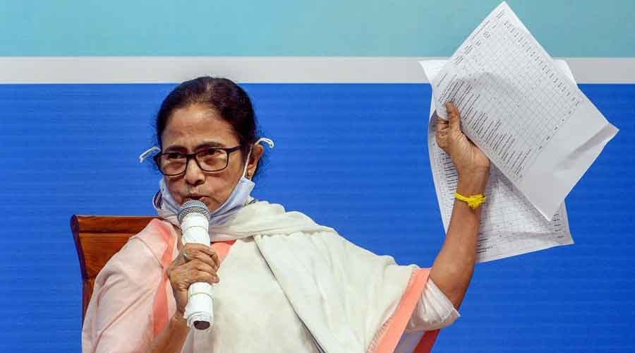 Chief minister Mamata Banerjee during the meeting in Siliguri on Tuesday.