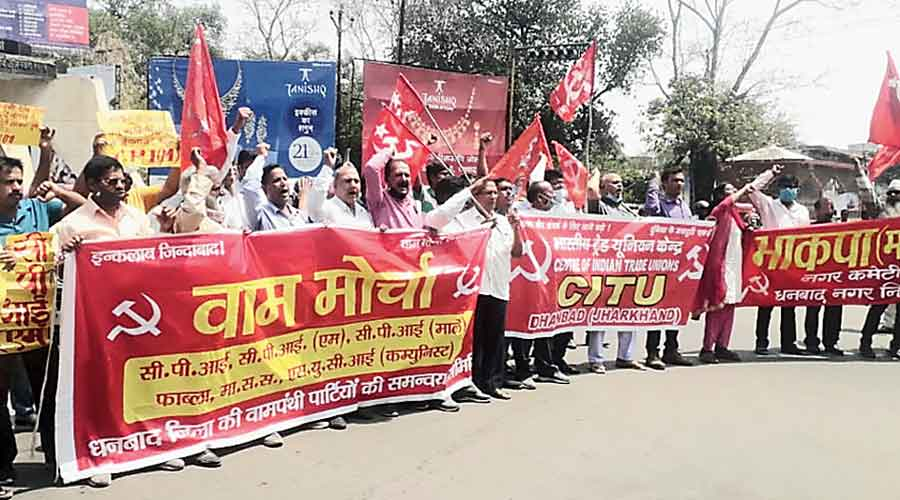 Protest against labour rules in Jharkhand