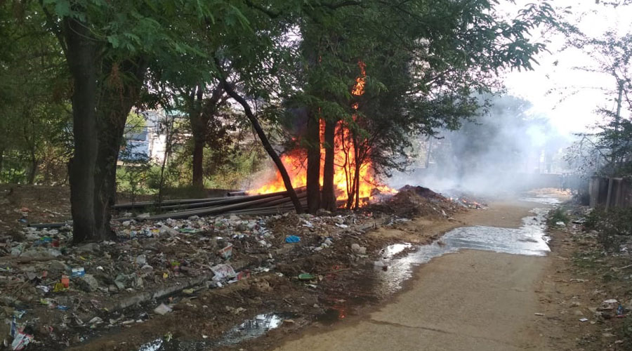 The PVC pipes on fire at Hari Bagan area on Friday
