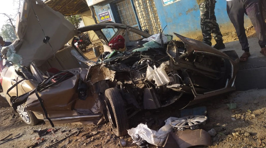 The mangled swift car in Hazaribagh on Friday.