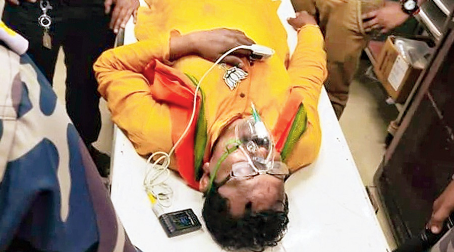 Dipak Halder at Diamond Harbour Medical College and Hospital after the attack.