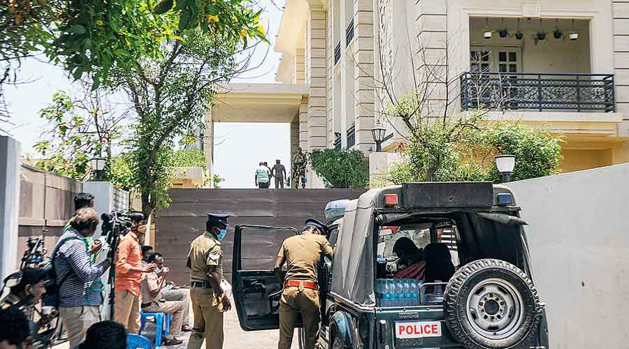 Security personnel outside the home of MK Stalin's  son-in-law in Chennai  on Friday
