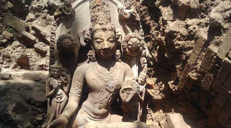 The statue of Avalokiteshvara found in Bahoranpur on Saturday.