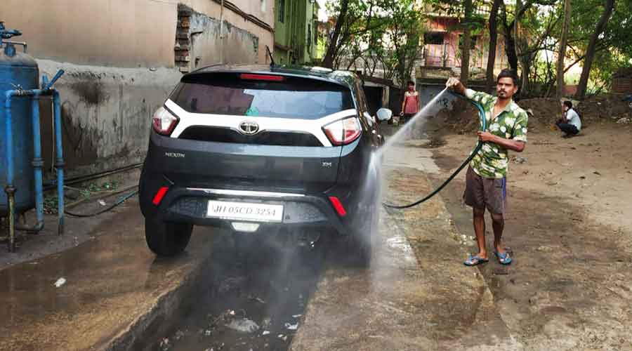 One of the car wash units at Majhitola in Adityapur on Saturday.