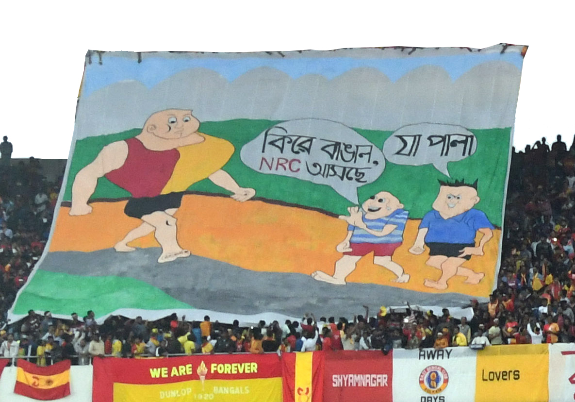 Political banners at a Hero I-League match between Mohun Bagan and East Bengal at Calcutta's Salt Lake Stadium in January 2020
