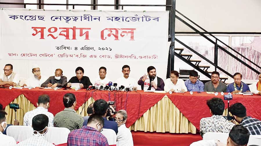 Congress-led ten-party alliance leaders address a joint news meet at a hotel in Guwahati before campaign for the third and last phase on Sunday