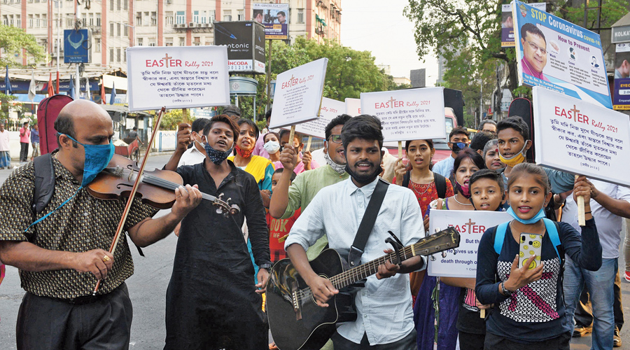 Participants in the Easter Rally from Bishop's College to St James' School on Sunday.