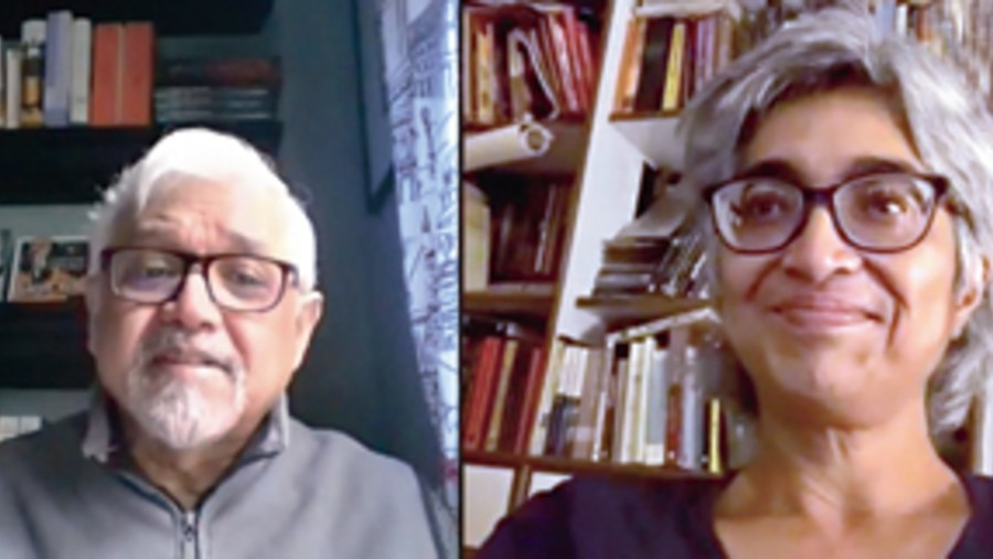 Amitav Ghosh during the online session hosted by Starmark