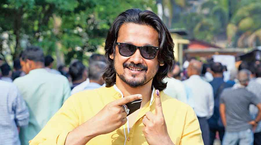 Actor Kopil Bora after casting his vote in  Guwahati on Tuesday