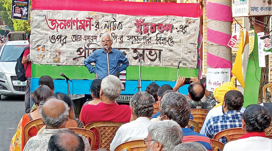 """Kushal Debnath, the convener of the """"No Vote to BJP"""" campaign, speaks at the programme on Tuesday."""