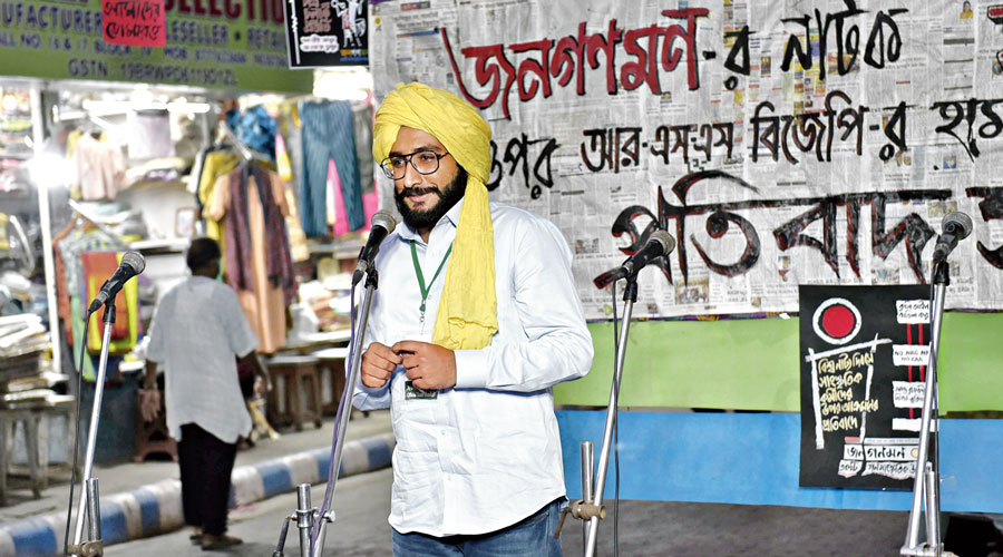 Anup Singh of the Kisan Social Army speaks at the programme on Tuesday.