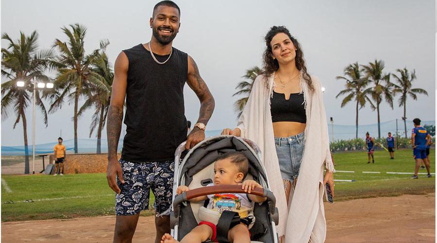 Hardik Pandya with wife Natasa Stankovic and son Agastya.