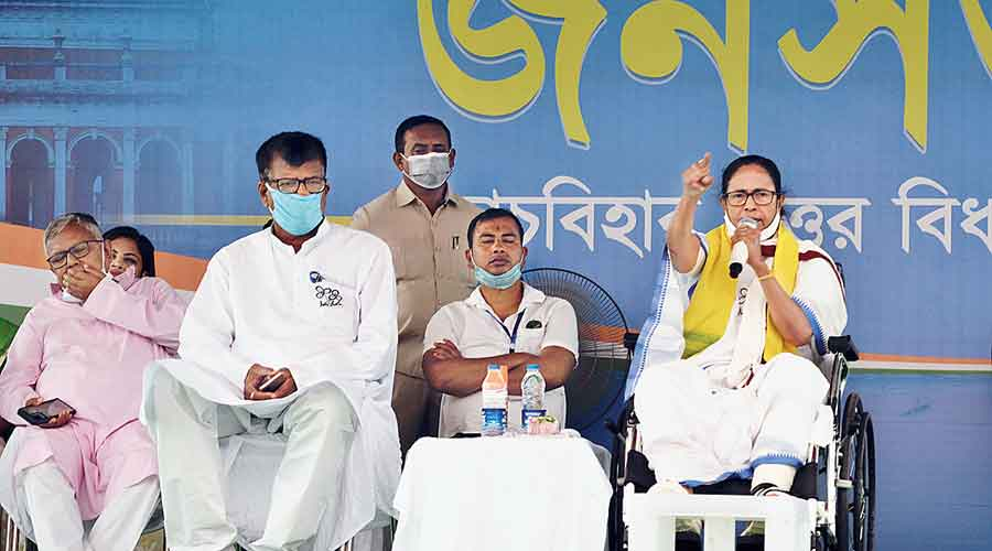Mamata at the public meeting in Cooch Behar district on Wednesday