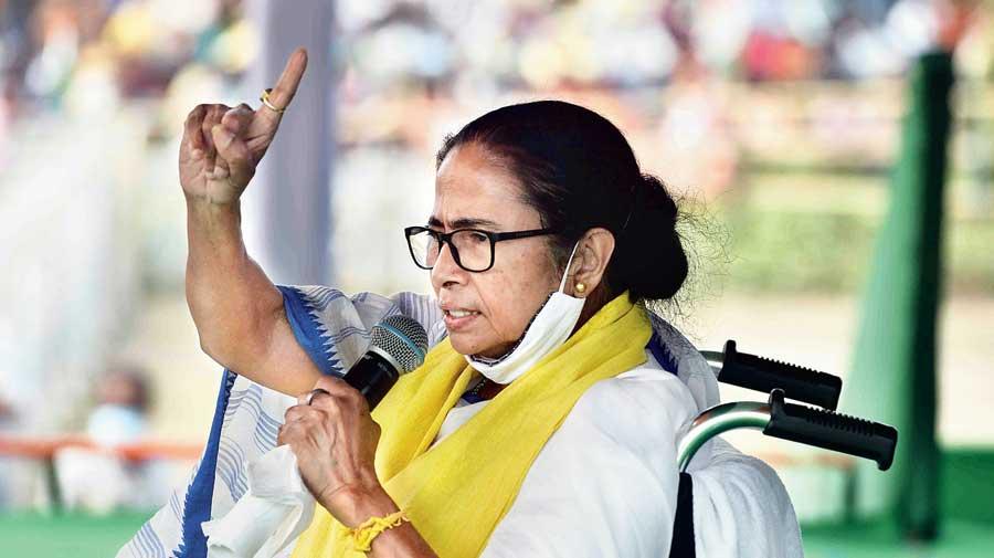 Mamata Banerjee at an election meeting on Wednesday