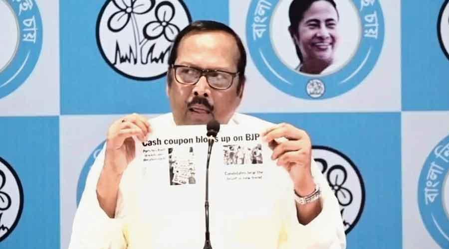 Trinamul MP Sukhendu Sekhar Roy at the news conference in Calcutta on Wednesday