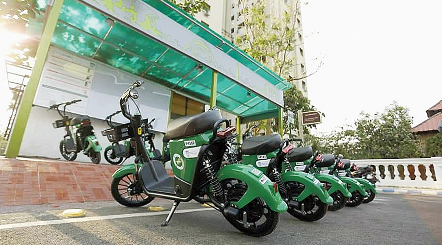 E-bikes at a docking station in New Town on Wednesday.