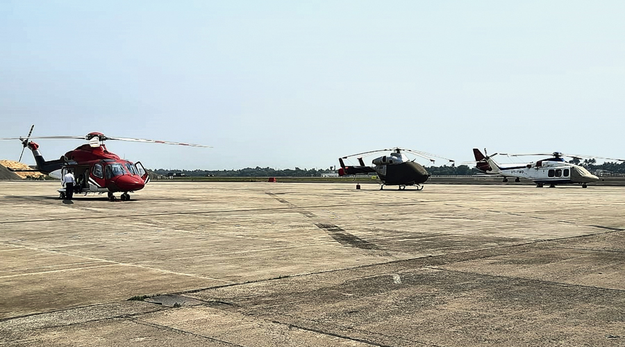 Helicopters at the city airport on Monday