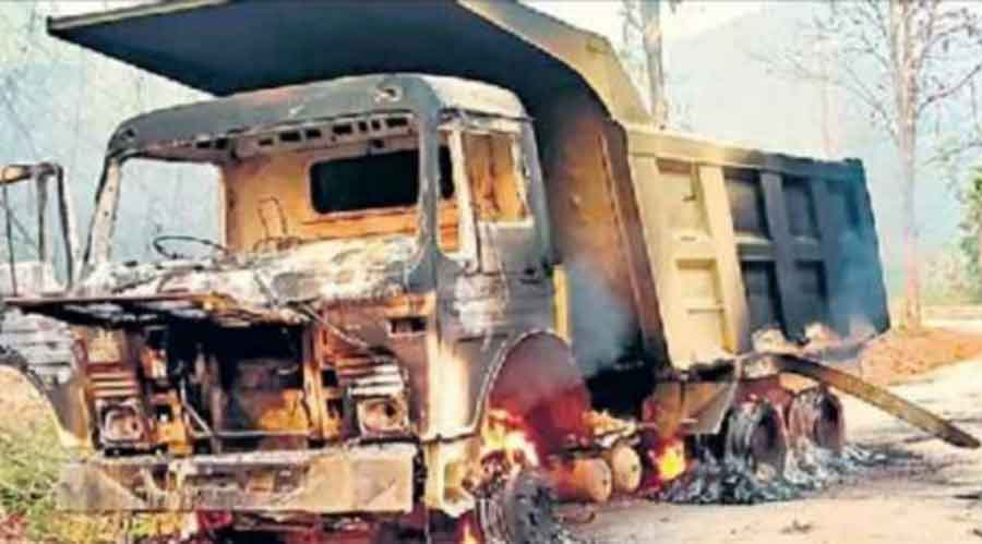 One of the torched vehicles at Lanji region in West Singhbhum on Thursday.