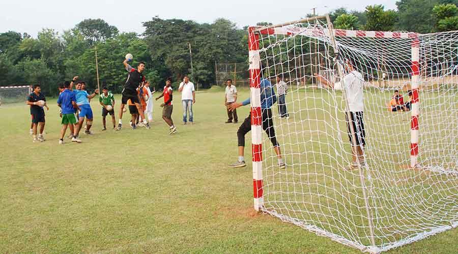 Handballers train at JRD Tata Sports Complex in Jamshedpur last year.