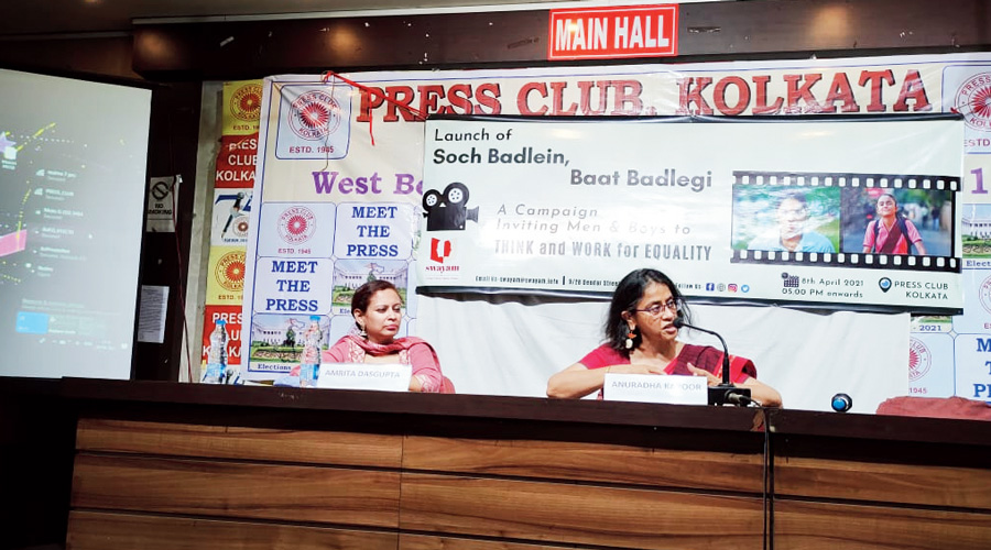 Swayam, a women's rights organisation, launches a campaign in Calcutta on Thursday.