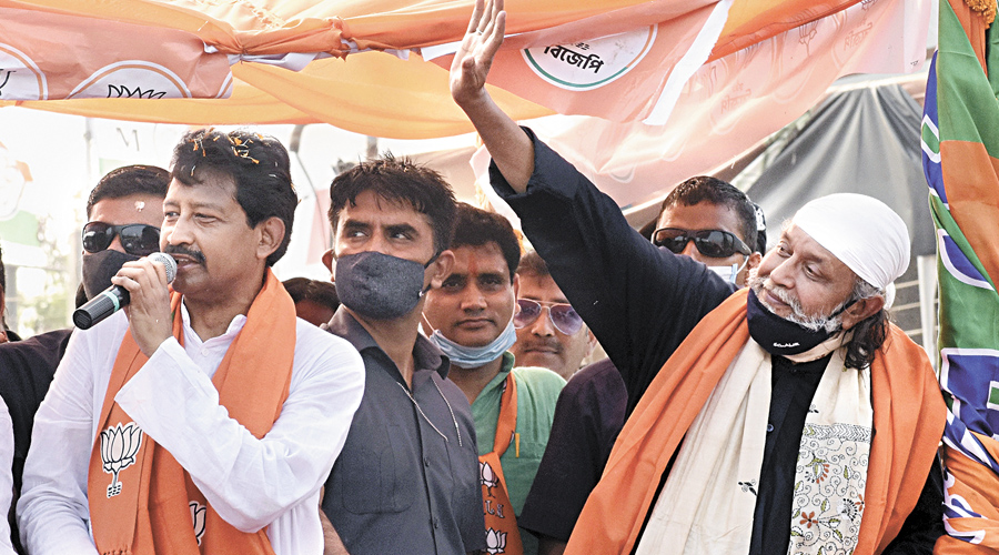Mithun Chakraborty campaigns in Howrah's Domjur on Thursday.
