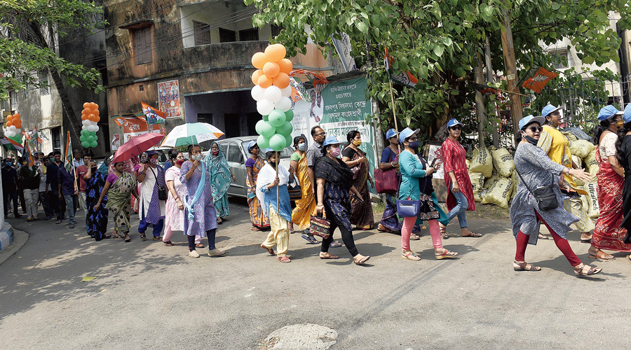 A rally by Trinamul supporters in Jadavpur on Thursday.
