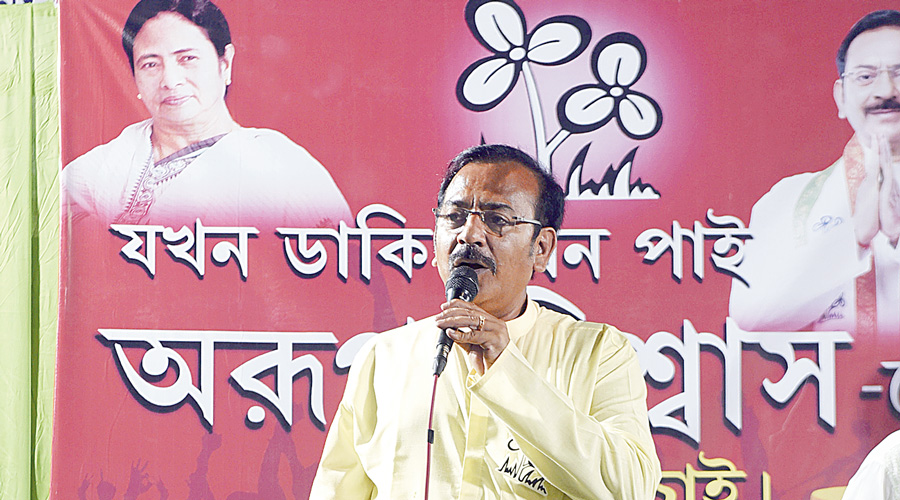 TMC candidate Aroop Biswas campaigns on Thursday.
