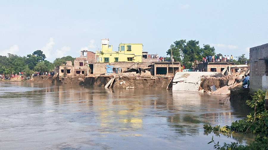 The eroded bank of the Ganga at Hiranandapur.