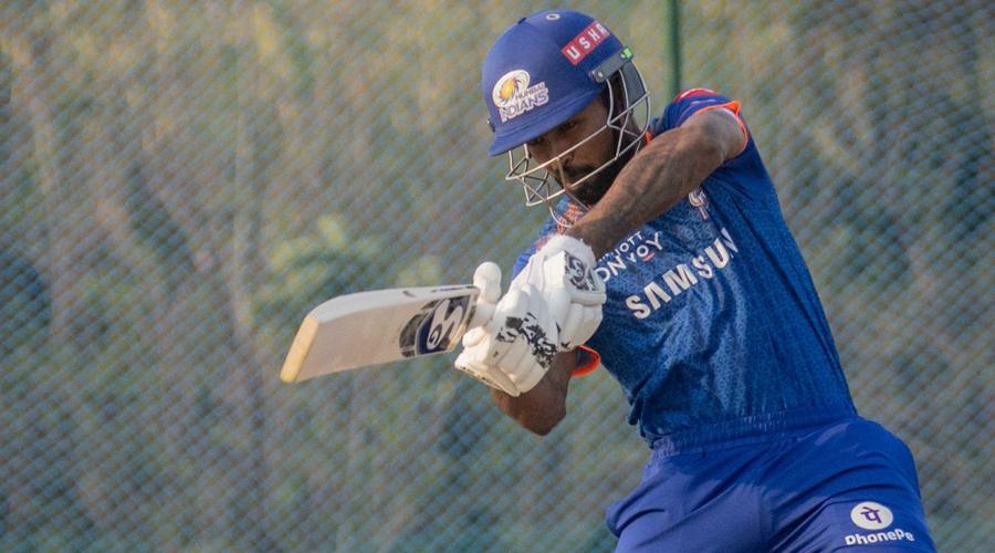 Hardik Pandya during practice on Thursday.