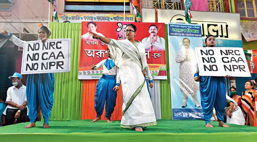 Mamata Banerjee is the central character of a roadside  play in Azadgarh Bazar, near Tollygunge, on Thursday